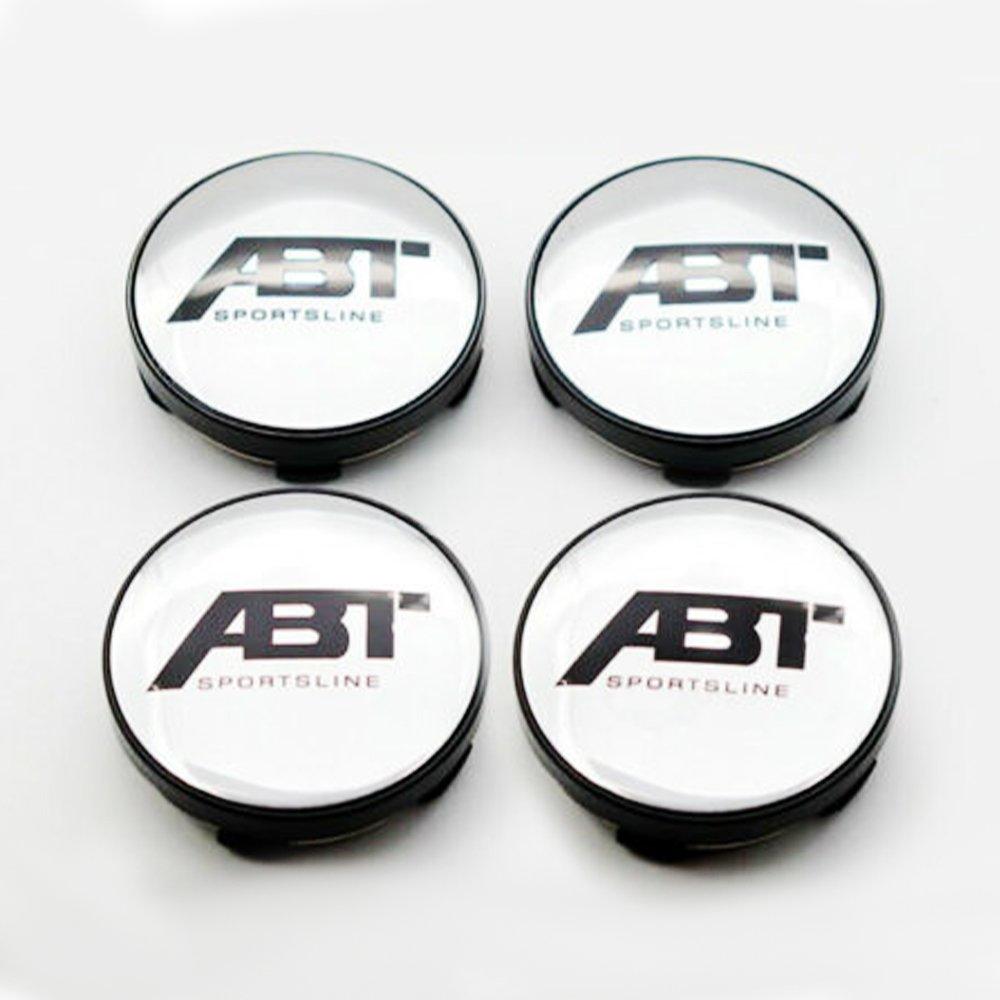 60mm ABT Silver Black Hubcap Wheel Cover Center Cap Set