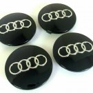 68mm Audi Black Hubcap Wheel Cover Center Cap Set