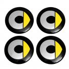 56mm Smart Yellow Black Hubcap Wheel Cover Center Cap Set