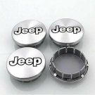 56mm JEEP Silver Black Hubcap Wheel Cover Center Cap Set