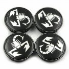 50mm FIAT Abarth Black White Hubcap Wheel Cover Center Cap Set