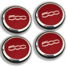 60mm Fiat 500 Red Hubcap Wheel Cover Center Cap Set
