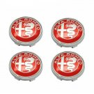 60mm Alfa Romeo Red Hubcap Wheel Cover Center Cap Set