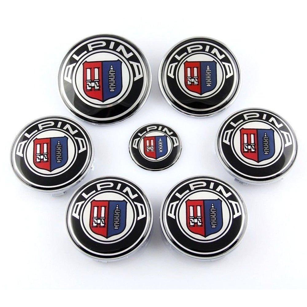 Set of 7pcs BMW Alpina (82+74+45+4x68) Emblem Logo Set for Hubcaps Steering Wheel Front Back
