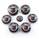 Set of 7pcs BMW Alpina (82+74+45+4x68) Emblem Logo Set for Hubcaps Steering Wheel Front Back
