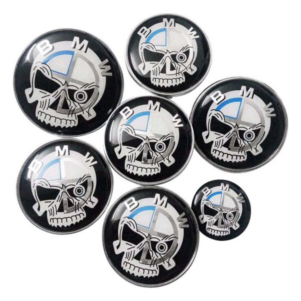 Set of 7pcs BMW Skull Black White Emblem Logo Set for Hubcaps Steering Wheel Front Back