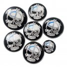 Set of 7pcs BMW Skull Black White Emblem Logo Set for Hubcaps Steering Wheel Front Back