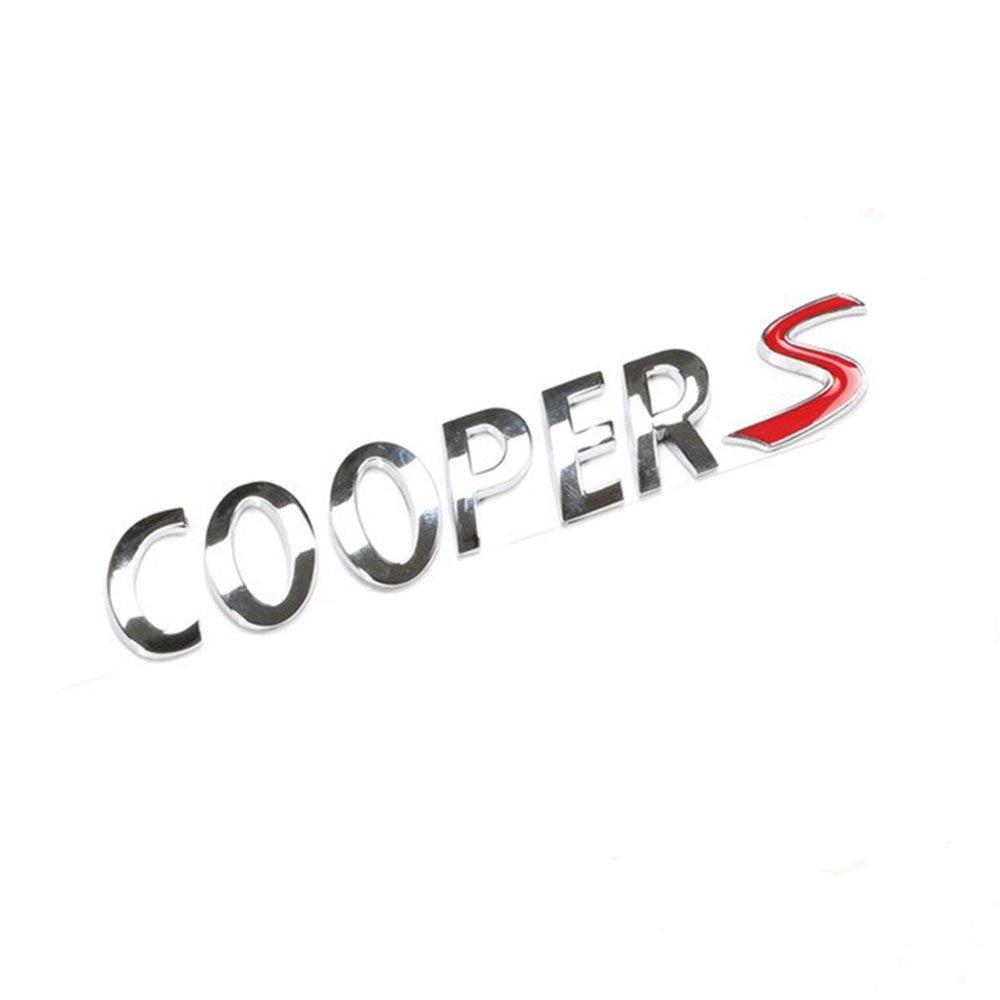 Cooper S Silver Red Sticker Logo Emblem Badge Trunk Back Sign