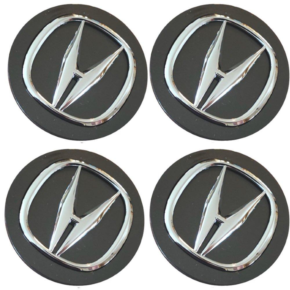 69mm Honda Accura Black Silver Hubcap Wheel Cover Center Cap Set