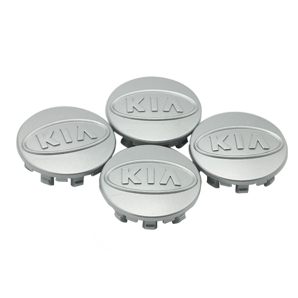 58mm KIA Silver Hubcap Center Wheel Cover Cap Set