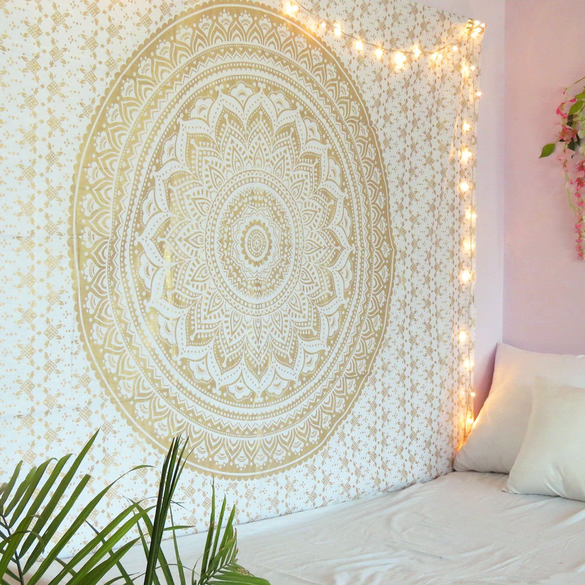 White and Gold Mandala Tapestry Wall Hanging Boho Bedspread Twin Tapestry