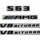 S63 AMG V8 BITURBO Black Glossy Letters Sticker Badges Emblems for Mercedes Benz W222