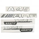 Chrome A45 AMG TURBO 4MATIC Trunk Fender Badges Sticker for Mercedes Benz Set