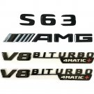 Gloss Black S63 AMG V8 BITURBO 4MATIC+ Trunk Fender Emblems for Mercedes Benz