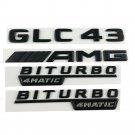 Black GLC43 AMG BITURBO 4MATIC Trunk Fender Badges Emblems for Mercedes Benz