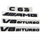 Gloss Black 3D Letters C63 AMG V8 BITURBO Emblems for Mercedes Benz W204 W205