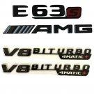 Gloss Black E63s AMG V8 BITURBO 4MATIC+ Badges Emblems for Mercedes Benz W213