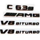 For Mercedes Benz W205 C205 C63s AMG V8 BITURBO All Gloss Black Emblems Badges