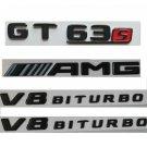 Gloss Black Trunk Fender Badges Emblems for Mercedes Benz GT 63s AMG V8 BITURBO