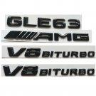 Gloss Black 3D Letters GLE63 AMG V8 BITURBO Emblems Badges for Mercedes Benz