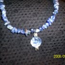 Sodalite Necklace with Flower Pendant