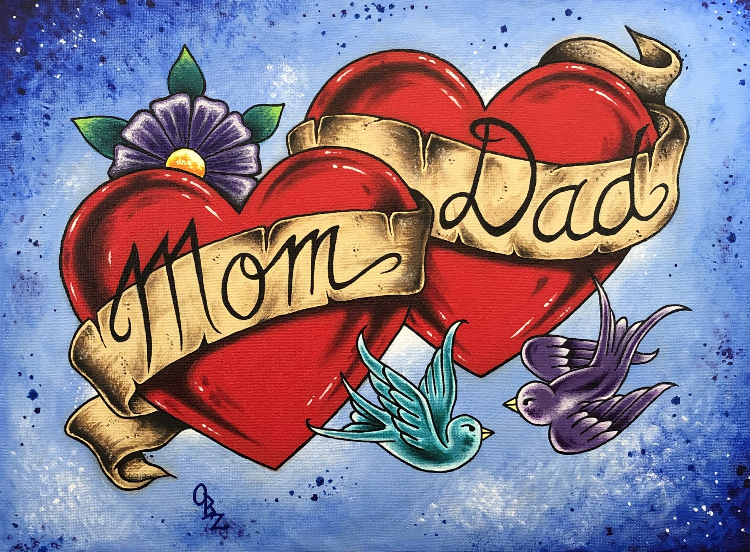 �Mom and Dad� Tattoo style Art with Ribbon and Love Birds Art Print