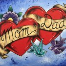 """Mom and Dad"" Tattoo style Art with Ribbon and Love Birds Art Print"