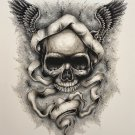 """Wings of Destiny"" Skull with Wings and Ribbon Art Poster Print"