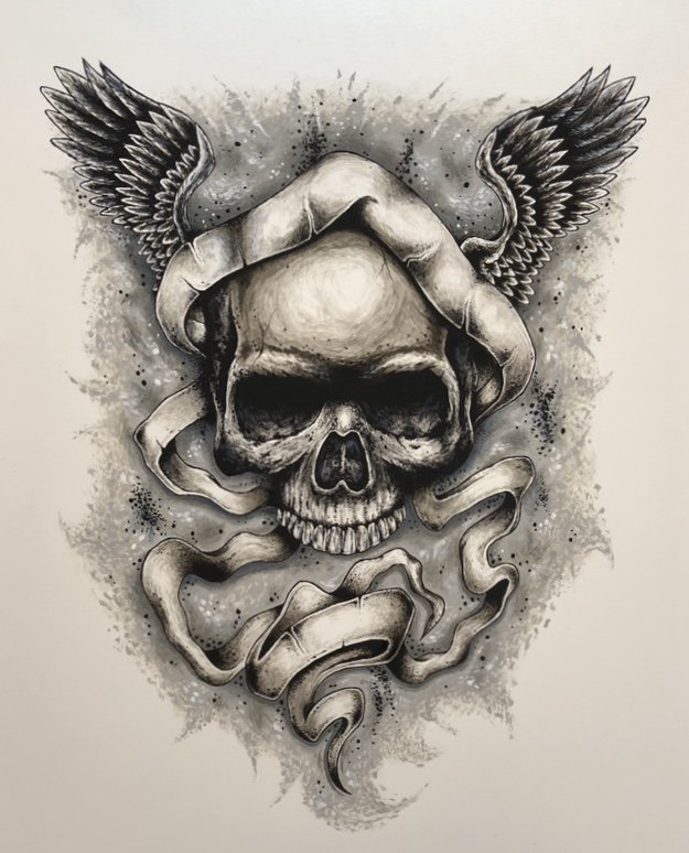 �Wings of Destiny� Skull with Wings and Ribbon Art Poster Print