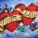 """""""Mom and Dad"""" Tattoo style Art with Ribbon and Love Birds Art Print"""