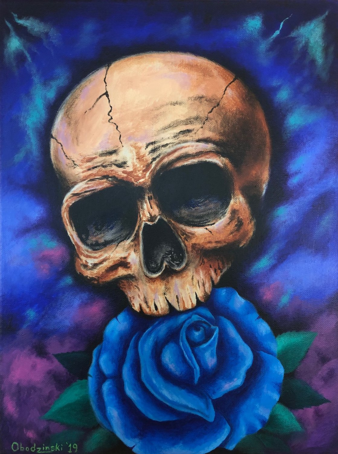"""Skull and Rose"" Art Poster Print by Gregg's Deep Colors"