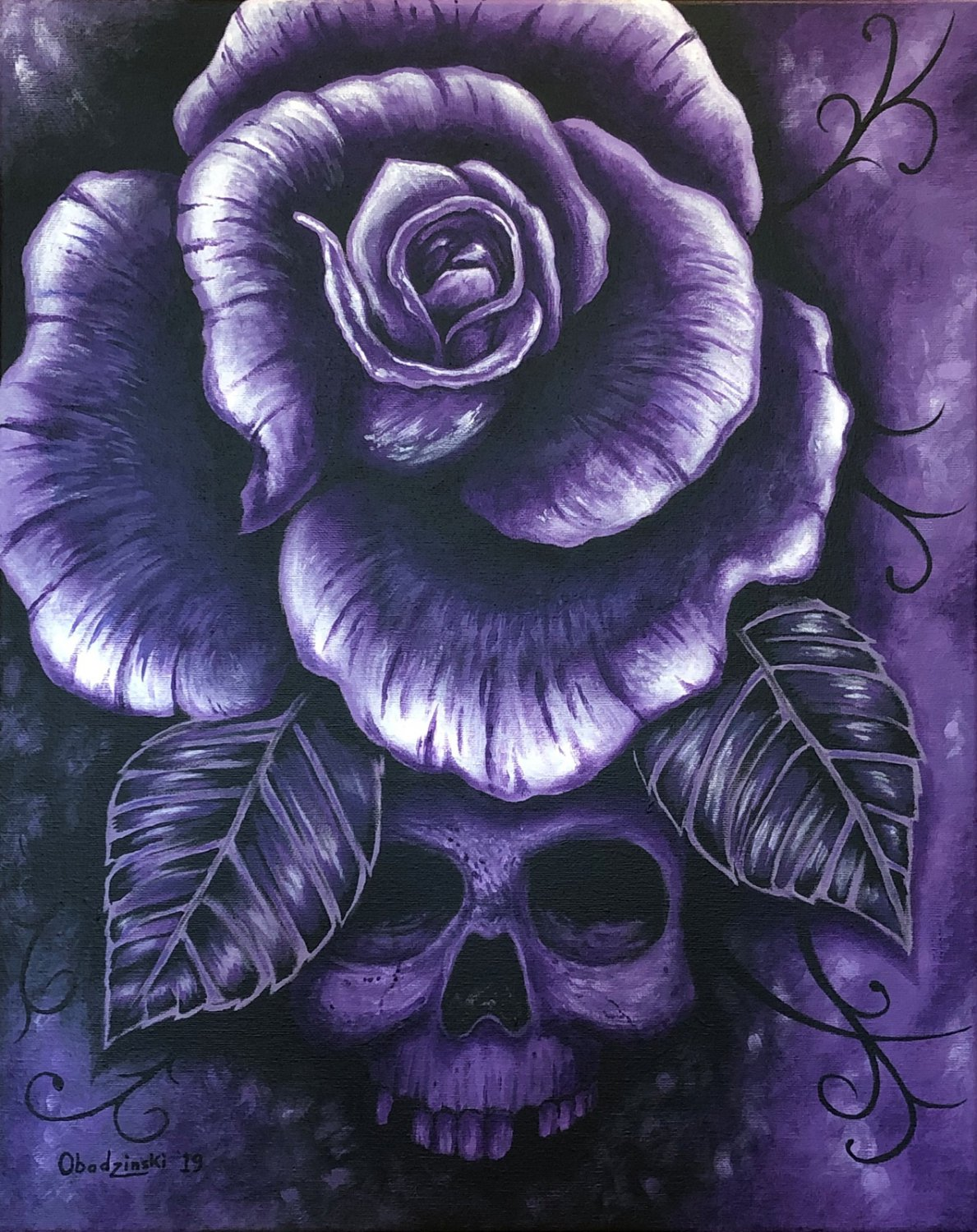 """""""Purple Haze"""" Skull and Rose Art by Gregg's Deep Colors"""