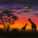 """Giraffe Sunest"" African themed Scenic Sunset Art Poster by Gregg's Deep Colors"