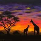 """Giraffe Sunest"" African themed Scenic Sunset Art Poster by Gregg's Deep Colors"