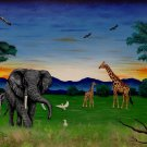 """African Sunset"" African Safari with Elephants and Giraffes Art Poster Print by Gregg's Deep Colors"
