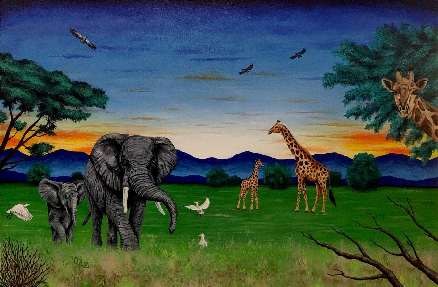 """""""African Sunset"""" African Safari with Elephants and Giraffes Art Poster Print by Gregg's Deep Colors"""