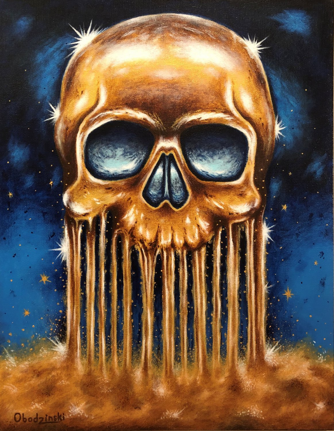 """""""All that Glitters is Gold"""" Skull Art Poster Print by Gregg's Deep Colors"""