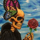 """Enchanted"" Reaper Skull with Butterfly Wings and Rose Art Poster Print by Gregg's Deep Colors"