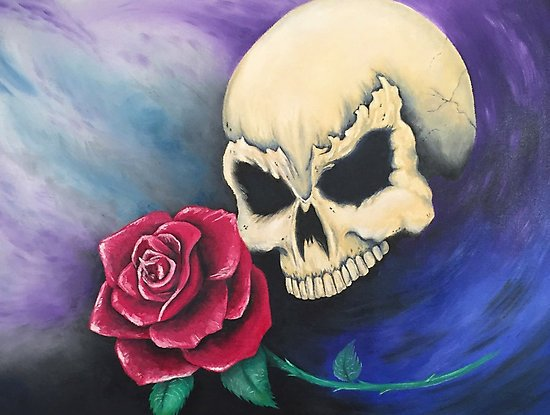 """""""Seeing Red"""" Skull with Rose Fabtasy Art Poster Print by Gregg's Deep Colors"""