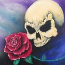 """Seeing Red"" Skull with Rose Fabtasy Art Poster Print by Gregg's Deep Colors"