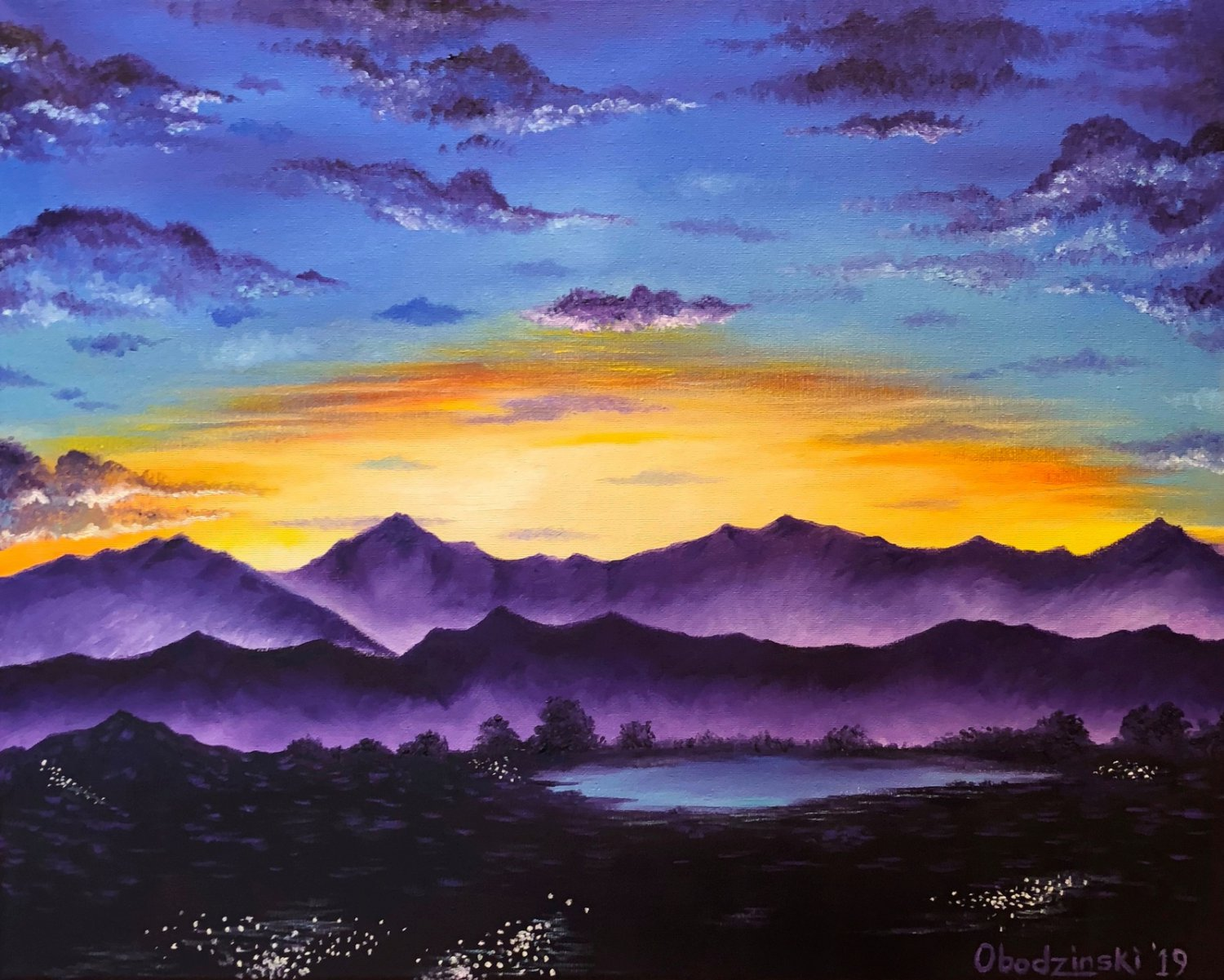 """Arizona Sunset"" Mountains and Sunset Art Poster Print by Gregg's Deep Colors"