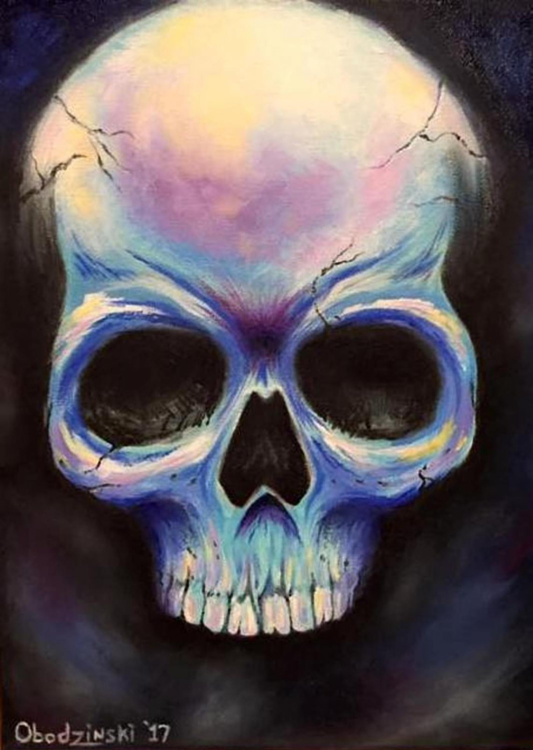 """Cold Steel"" Skull Artwork Poster Print by Gregg's Deep Colors"