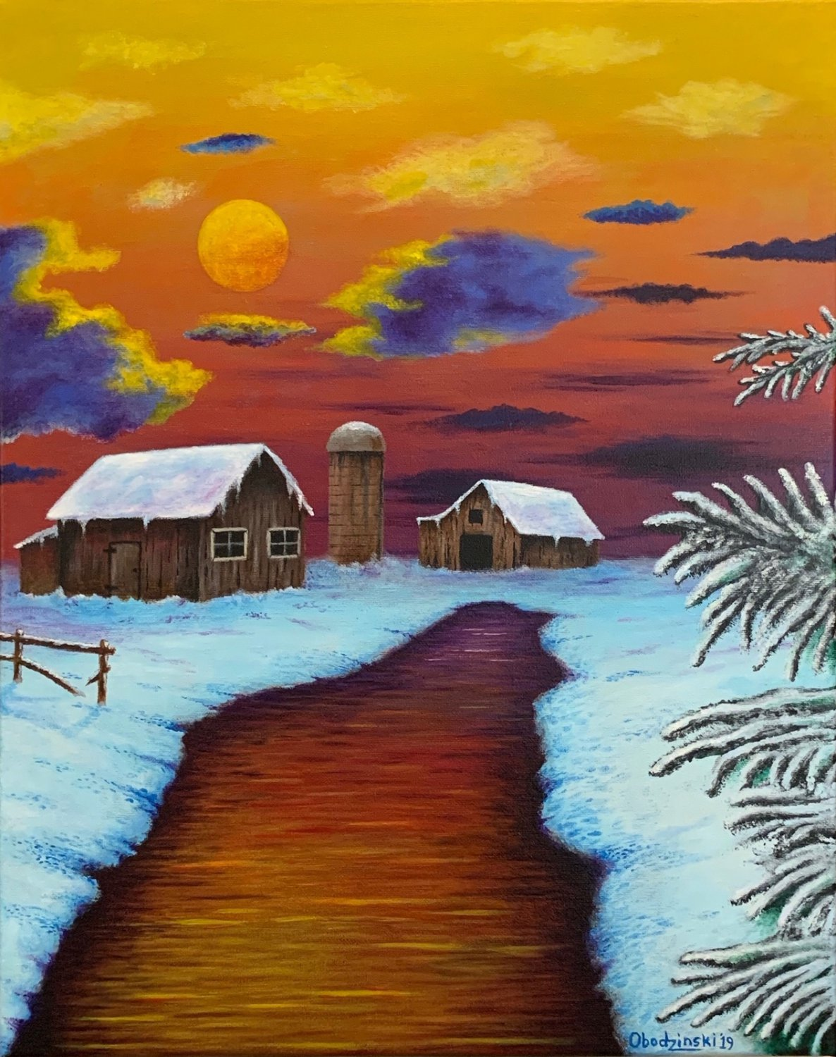 """""""Winter Sunset"""" Farm Scenic Sunset Artwork Poster Print by Grgg's Deep Colors"""