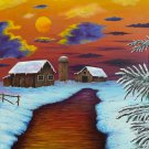 """Winter Sunset"" Farm Scenic Sunset Artwork Poster Print by Grgg's Deep Colors"