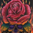 """Up in Flames' Skull and Red Rose in Flames Artwork Poster Print by Gregg's Deep Colors"