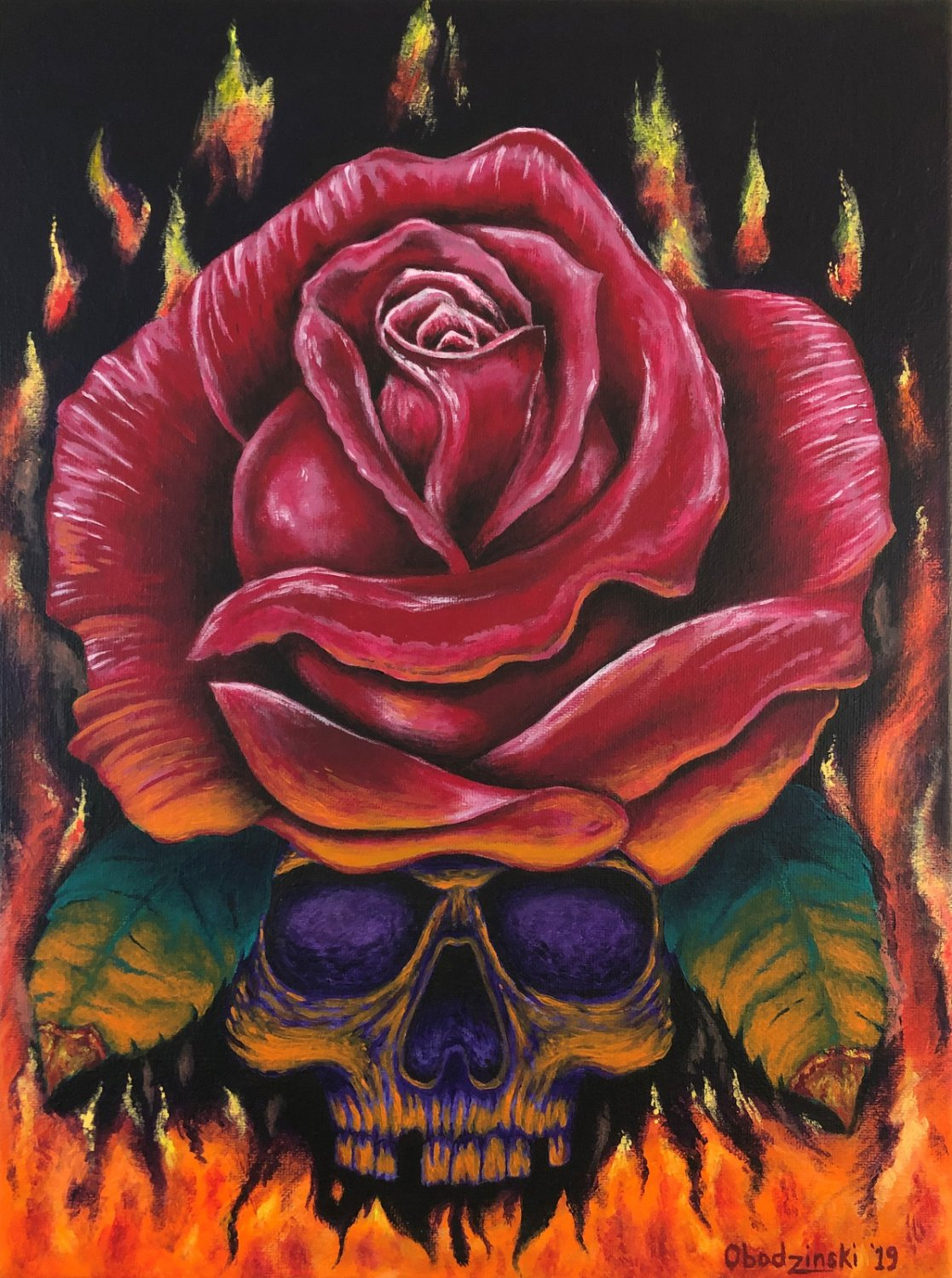 """""""Up in Flames' Skull and Red Rose in Flames Artwork Poster Print by Gregg's Deep Colors"""