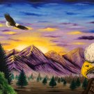 """Smoky Mountain Eagles"" Scenic Eagles and Mountains Artwork Poster Print by Gregg's Deep Colors"