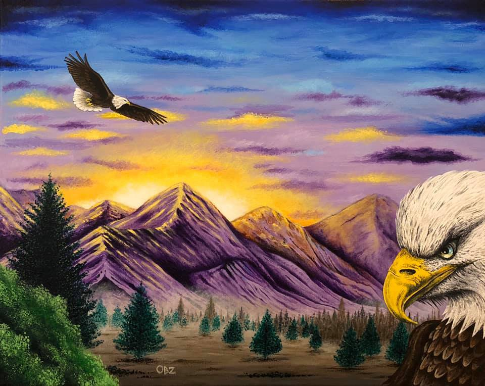 """""""Smoky Mountain Eagles"""" Scenic Eagles and Mountains Artwork Poster Print by Gregg's Deep Colors"""