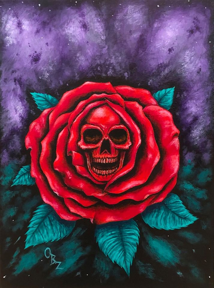 """Reaper Rose"" Skull inside of a Red Rose Artwork Poster Print"