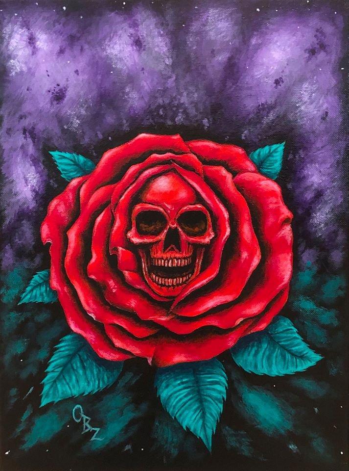 """""""Reaper Rose"""" Skull inside of a Red Rose Artwork Poster Print"""
